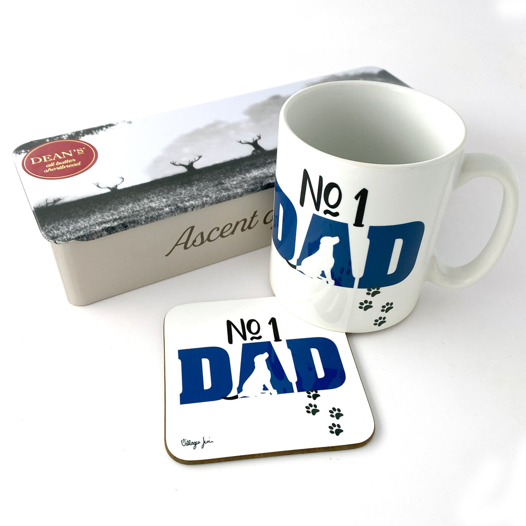 No 1 Dad Labrador Mug and Coaster Set FREE SHORTBREAD - Father's Day