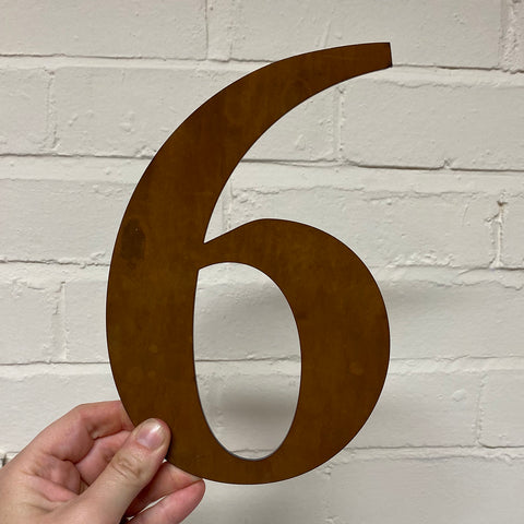 Number 6  - Rustic Steel Sculpture