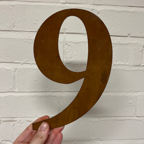 Number 9 - Rustic Steel Sculpture