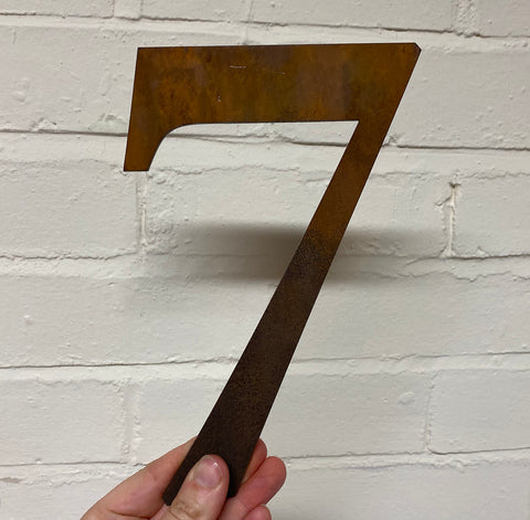 Number 7  - Rustic Steel Sculpture