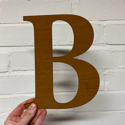 Letter B - Rustic Steel Sculpture