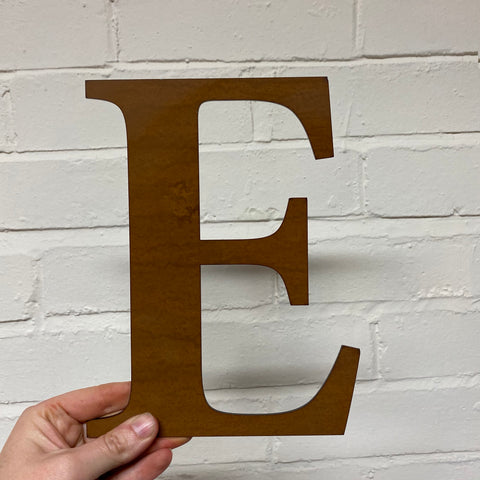 Letter E - Rustic Steel Sculpture