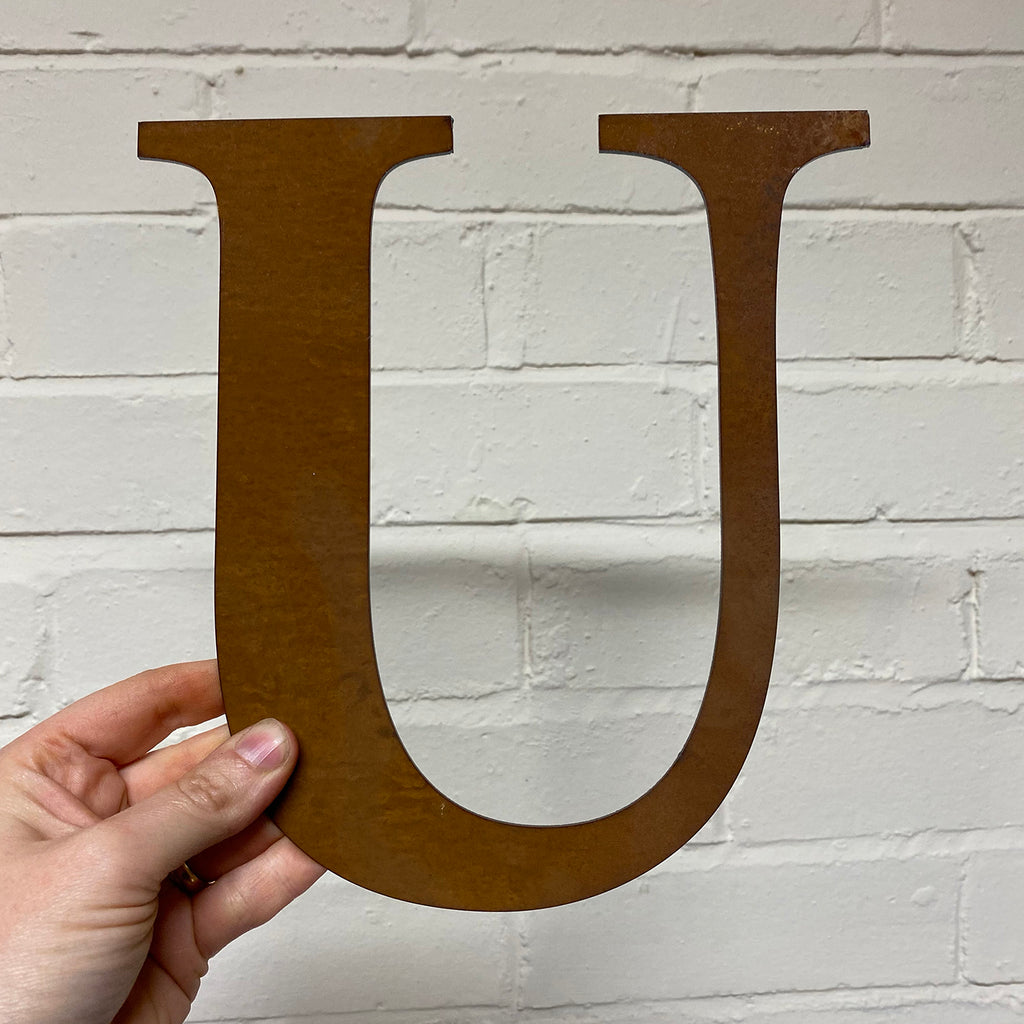 Letter U - Rustic Steel Sculpture
