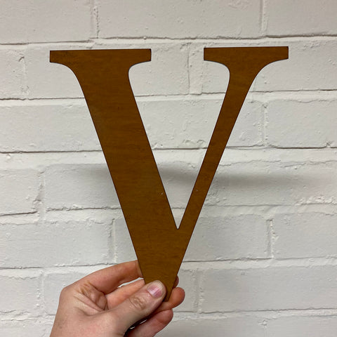 Letter V - Rustic Steel Sculpture