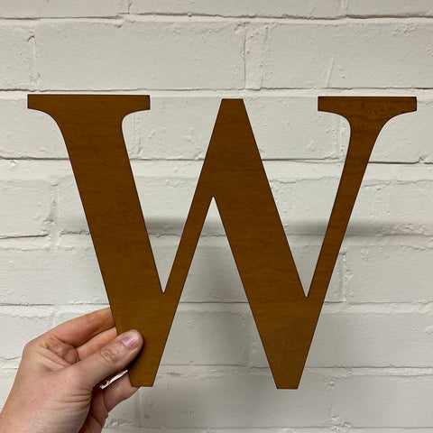 Letter W - Rustic Steel Sculpture