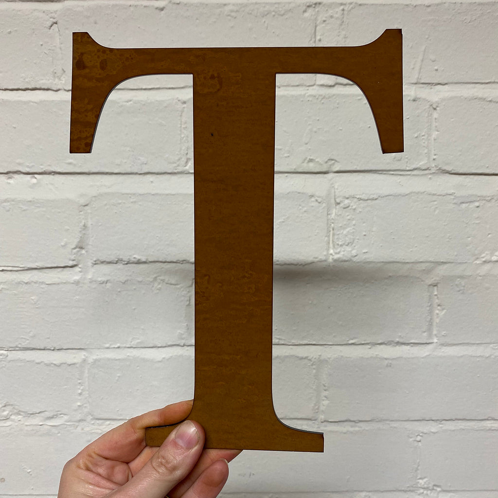 Letter T - Rustic Steel Sculpture
