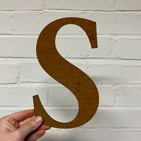 Letter S - Rustic Steel Sculpture