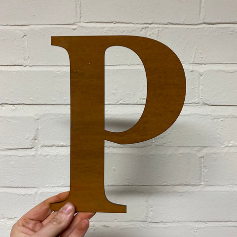 Letter P - Rustic Steel Sculpture