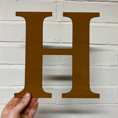 Letter H - Rustic Steel Sculpture