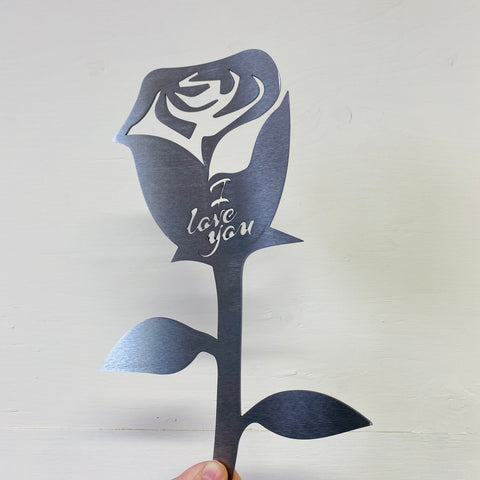 I Love You Rose - Rustic Garden Sculpture