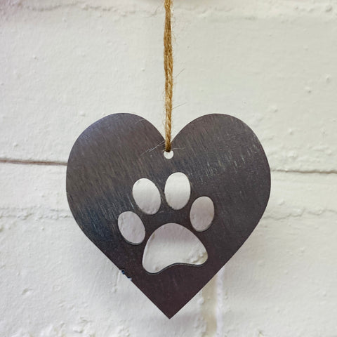 Mini Paw Print Heart - Decorations for Life - Solid Steel