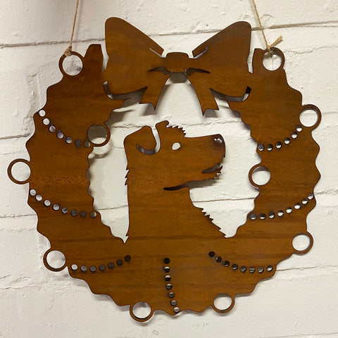 Jack Russell Festive Wreath - Rustic Festive Decoration - Solid Steel