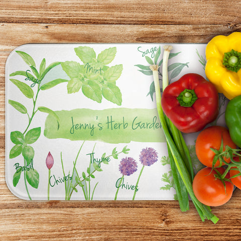 Personalised Herb Garden - Large Glass Worktop Saver