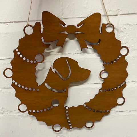 Labrador Festive Wreath - Rustic Festive Decoration - Solid Steel