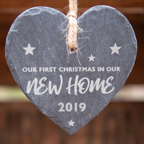 New Home Hanging Heart Slate 2019