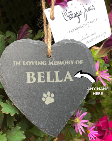 Personalised Pet Slate Hanging Heart