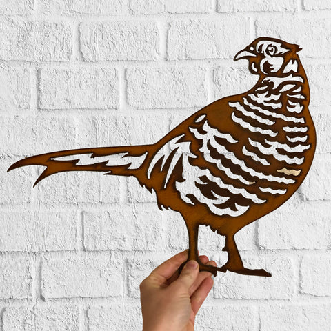 Pheasant - Rustic Rusted Garden Wildlife Sculpture