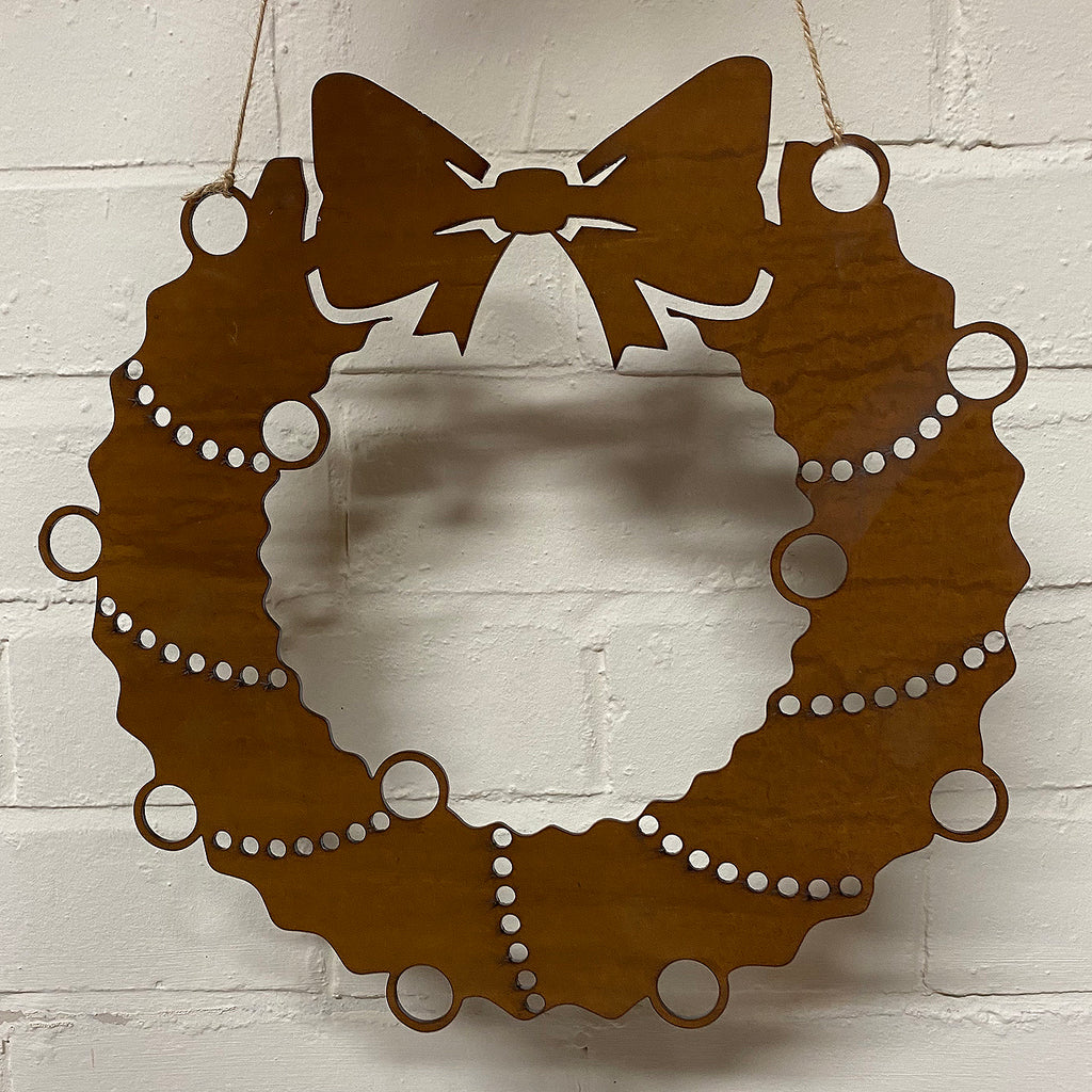 Plain Festive Wreath - Rustic Festive Decoration - Solid Steel