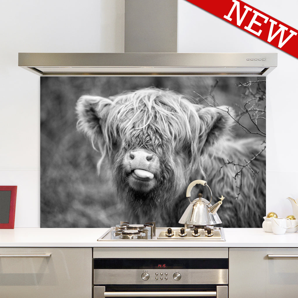 Raspberry Cow Black and White Splashback
