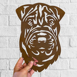 Shar Pei - Rustic Rusted Pet Garden Sculpture - Solid Steel