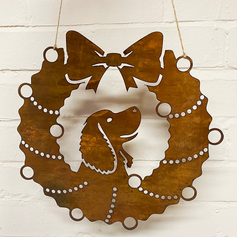 Springer Spaniel Festive Wreath - Rustic Festive Decoration - Solid Steel