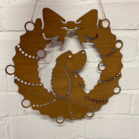 Cocker Spaniel Festive Wreath - Rustic Festive Decoration - Solid Steel
