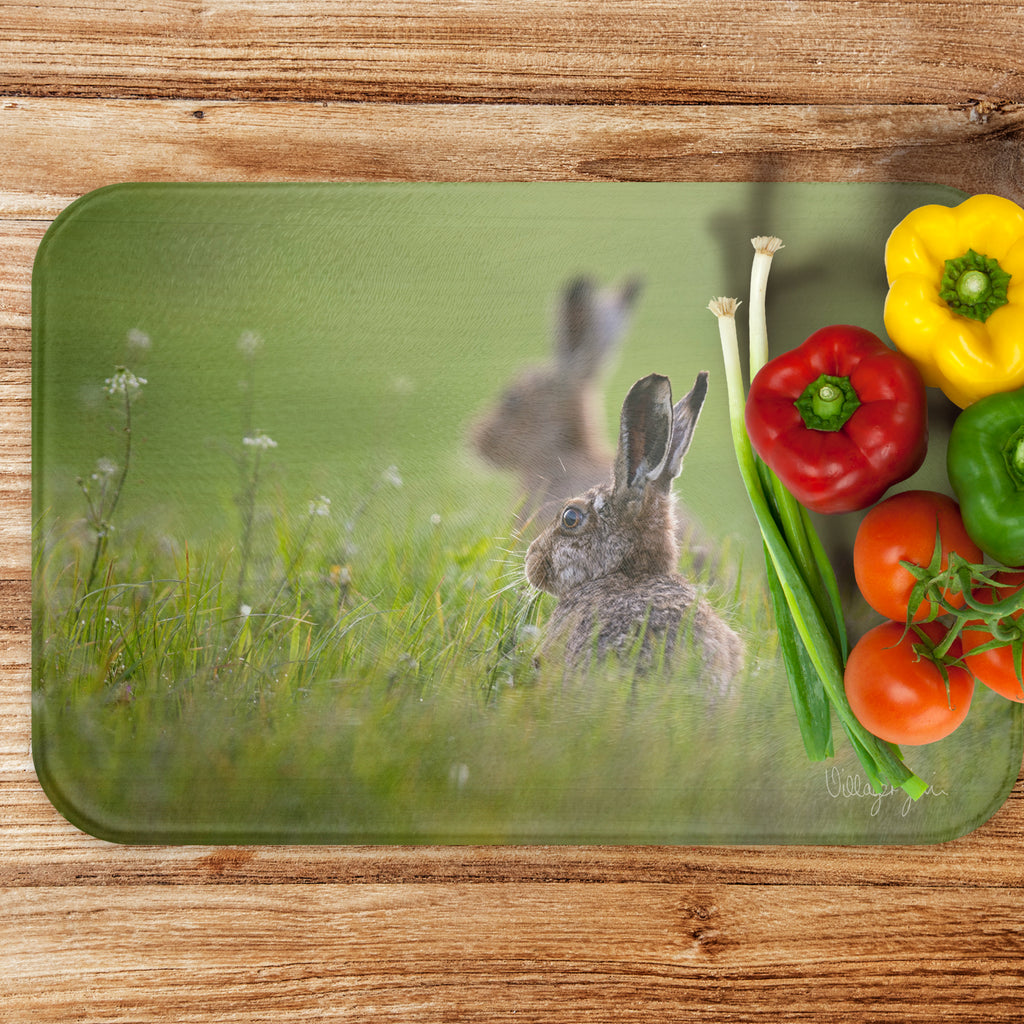Summer Hares - Luxury Large Glass Worktop Saver