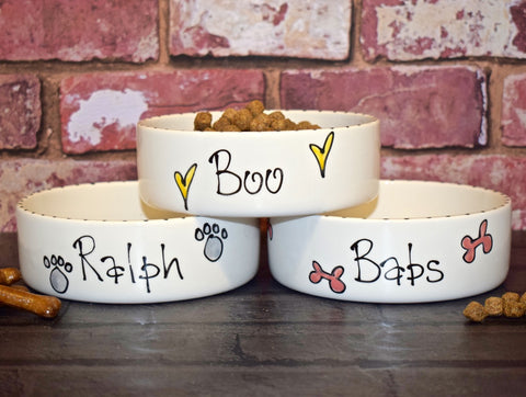 Straight Sided Personalised Pet Bowl with Whimsical Design