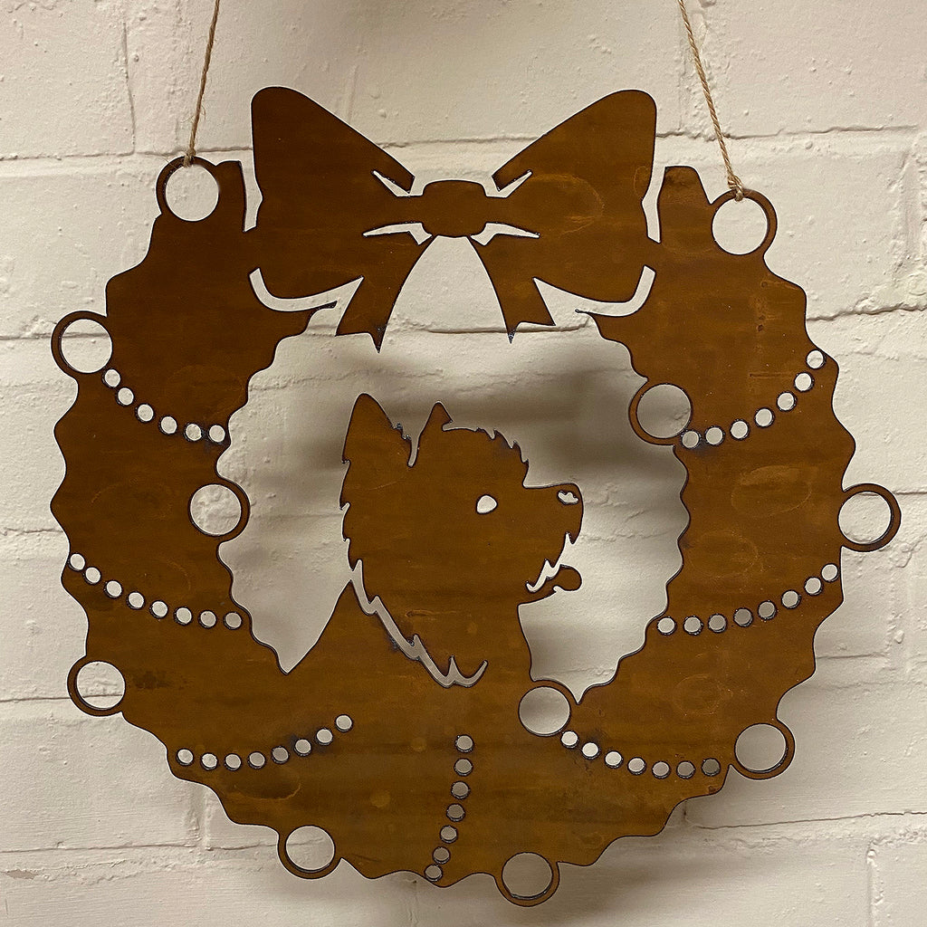 West Highland Terrier Festive Wreath - Rustic Festive Decoration - Solid Steel