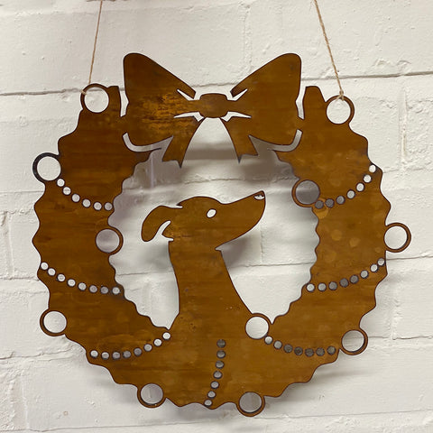 Greyhound Festive Wreath - Rustic Festive Decoration - Solid Steel