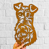 Wire Fox Terrier - Rustic Rusted Pet Garden Sculpture - Solid Steel