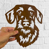 Wirehaired Dachshund - Rustic Rusted Pet Garden Sculpture - Solid Steel