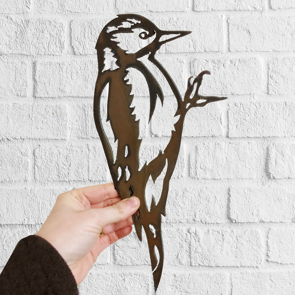 Woodpecker - Rustic Rusted Garden Wildlife Sculpture