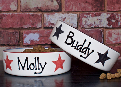 Straight Sided Personalised Pet Bowl with Stars