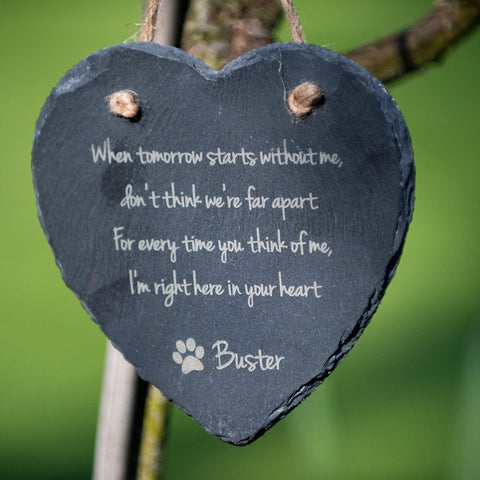 Large Personalised Pet Slate Heart - With Message