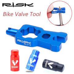 RISK 4 in 1 Bike Valve Core Wrench With 2 Presta Valve cap set Road Bicycle Valve Removal Tool Portable Repair Tools Accessories