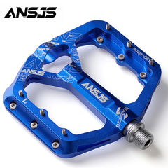 "Ansjs 3 Bearings Mountain Bike Pedals Platform Bicycle Flat Alloy Pedals 9/16"" Pedals Non-Slip Alloy Flat Pedals"