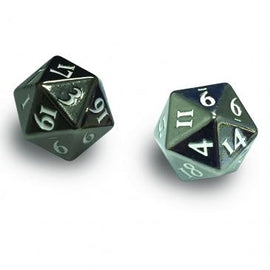 Heavy Metal D20 2-Dice Set - Gun Metal w/ White Numbers
