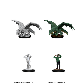 Dungeons & Dragons Nolzur's Marvelous Miniatures - Green Dragon Wyrmling and Afflicted Elf