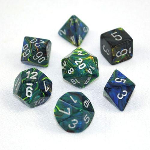 Festive Green w/ Silver - 7 Dice Set - CHX 27445