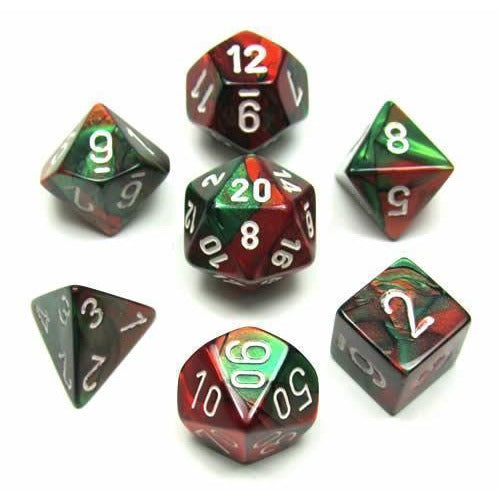 Gemini Green-Red w/ White - 7 Die Set - CHX 26431