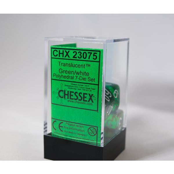 Translucent Polyhedral Green/white 7-Die Set - CHX23075