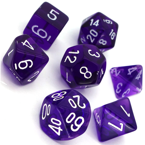 Translucent Polyhedral Purple/white 7-Die Set - CHX23077