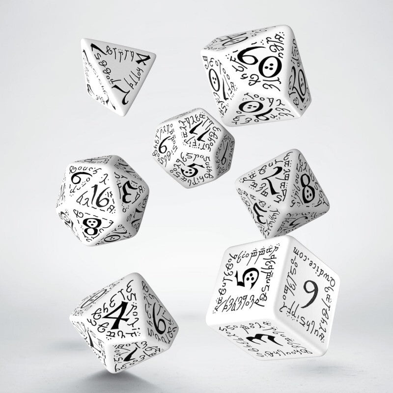 Elvish White & Black Dice Set (7)