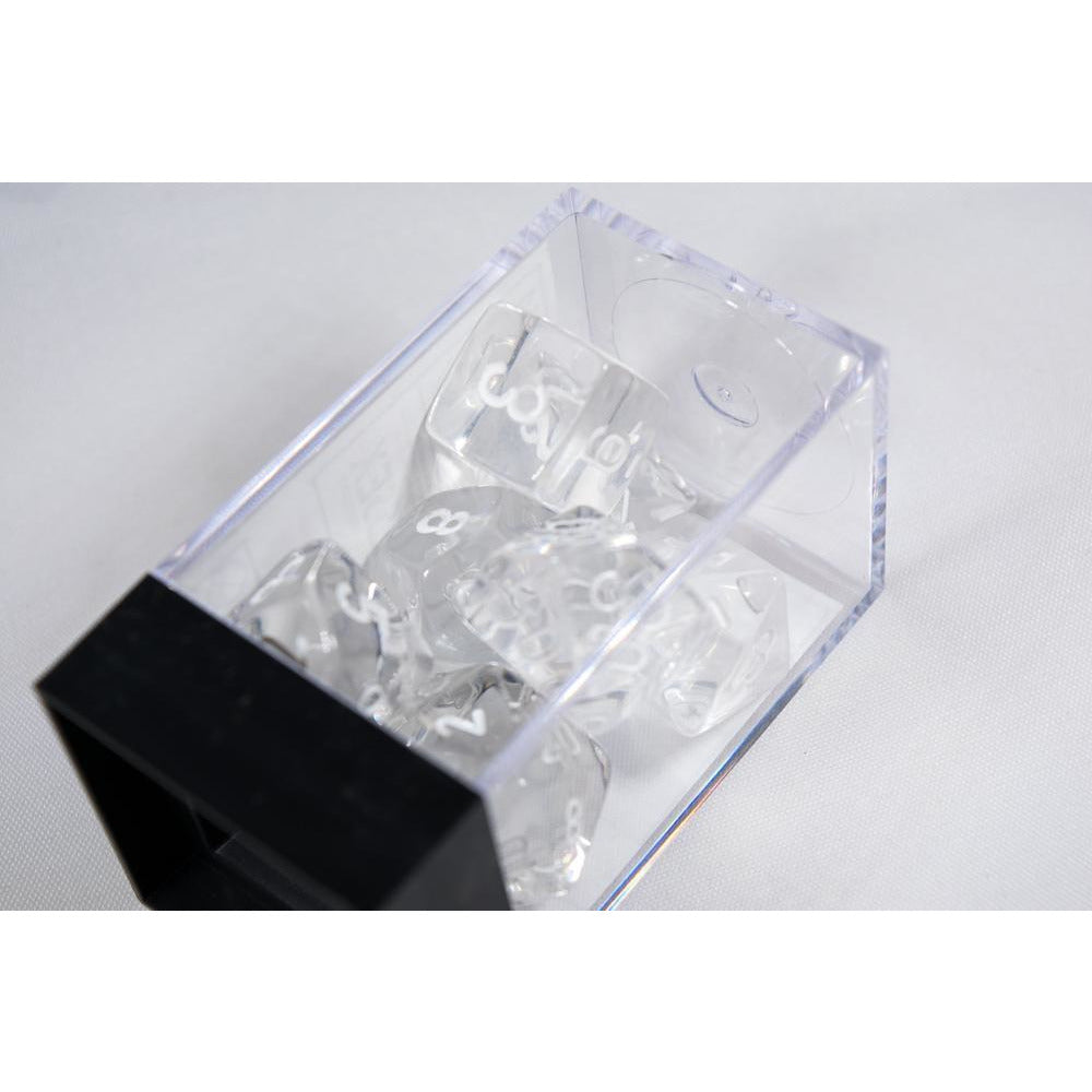 Translucent Polyhedral Clear/white 7-Die Set - CHX23071