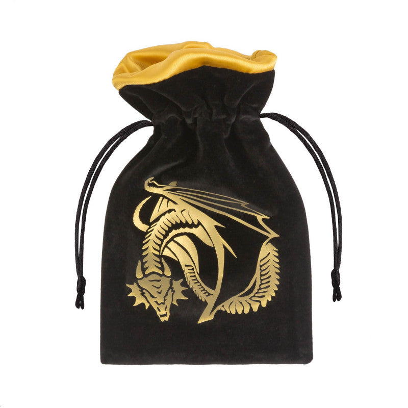 Dice Bag - Dragon Black and Golden Velour