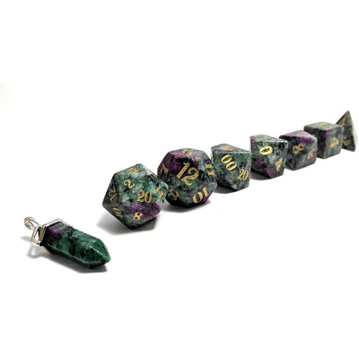 Ruby in Zoisite - Semi Precious Stone RPG Dice Set product-item1