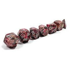Silver Red Imperial Jasper - TruStone RPG Dice Set