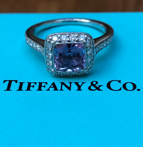Pre Loved Tiffany & Co. Purple Sapphire Legacy Diamond Ring