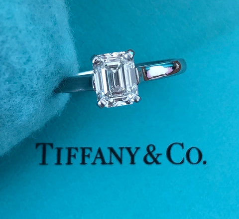 Pre Loved Tiffany & Co. 1.12ct H/VVS1 Emerald Cut Diamond Engagement Ring